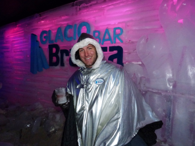 To stay warm, we got heat absorbing parkas to maintain body temperatures while in the bar