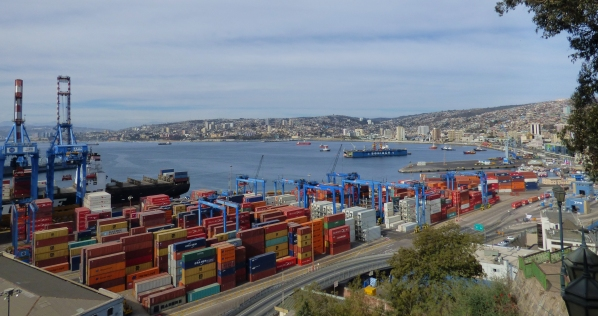 The colorful shipping boxes line the port of Valparaiso