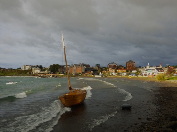 After strong winds and rain, a boat and it's anchor are washed ashore in Puerto Varas