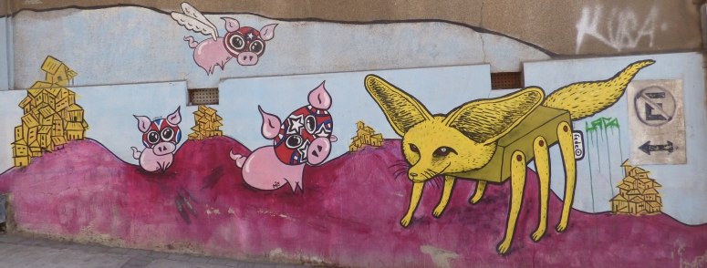 An artist's unique take on the 3 Little Pigs and the Big Bad Wolf in Valparaiso