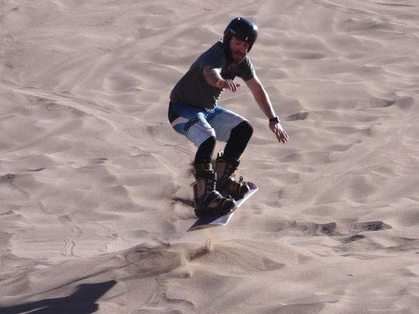 Chase jumps over the man made sand jump we created.
