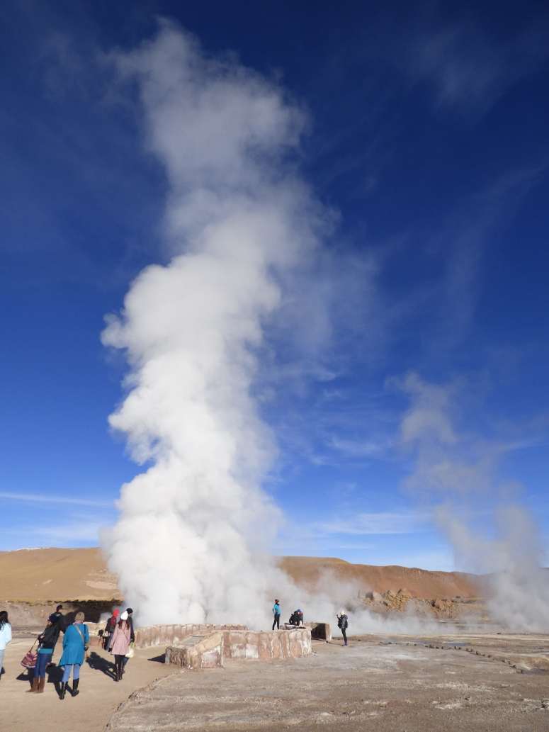 This geyser would explode up to 4 meters in the air, with the steam rising far above the others. At the bottom of this photo, you can see a woman standing, giving a bit of perspective to the size.