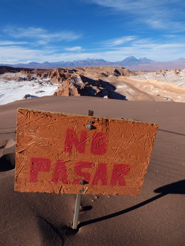 This sign is located at the top of the Great Dune, before the land falls drastically down again.