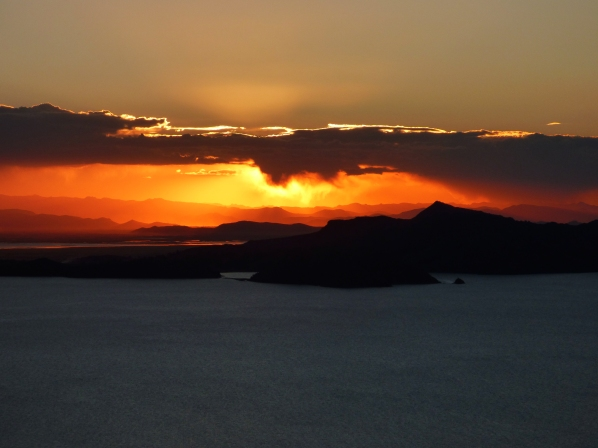 The sunset from the view point at Pacha Tata, the temple at the top of Amantani Island