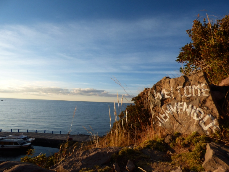 This large rock was painted and sat at the top of the hill, overlooking the sea