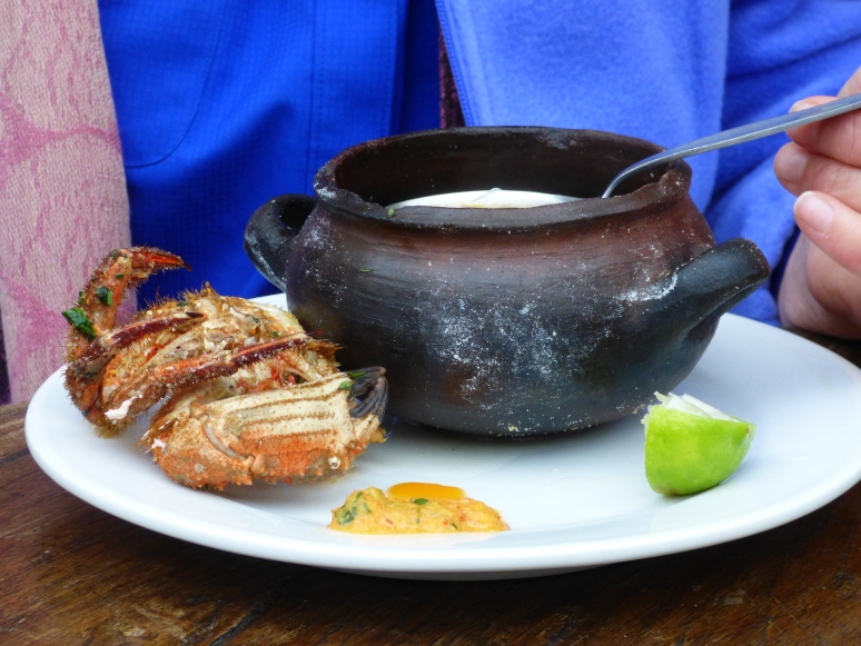 Crab soup from a local ceviche resturaunt in the outskirts of Barranco