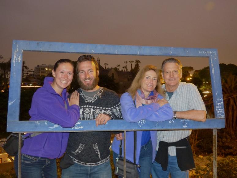 Photo frame fun on our food tour of Lima!