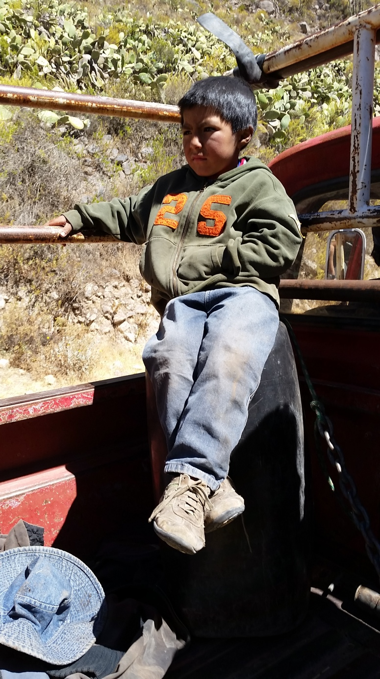 A local boy sits in the pickup as we drive towards Cruz Del Condor.
