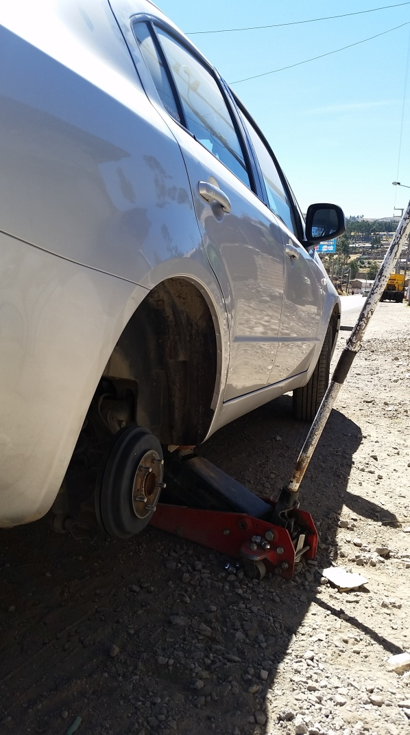 Across from the only tire shop within 100 miles, we got our flat tire...