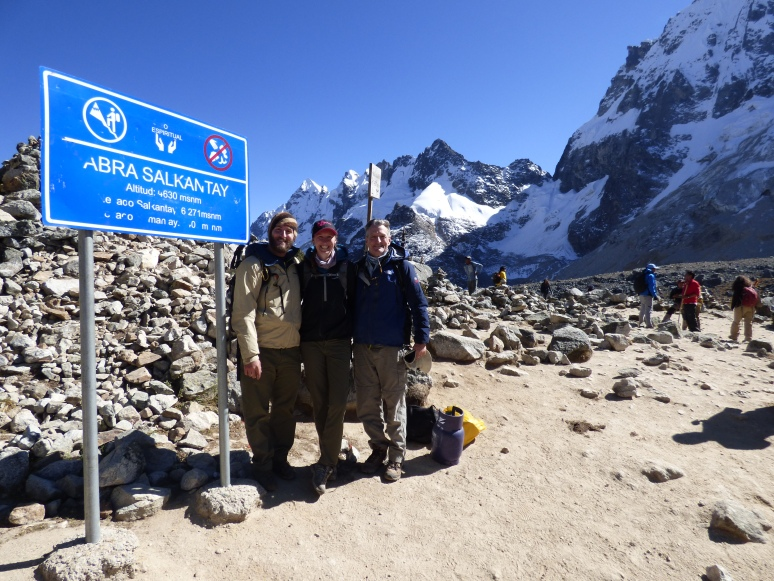 We stand at the top of Salkantay summit, 4630 meters