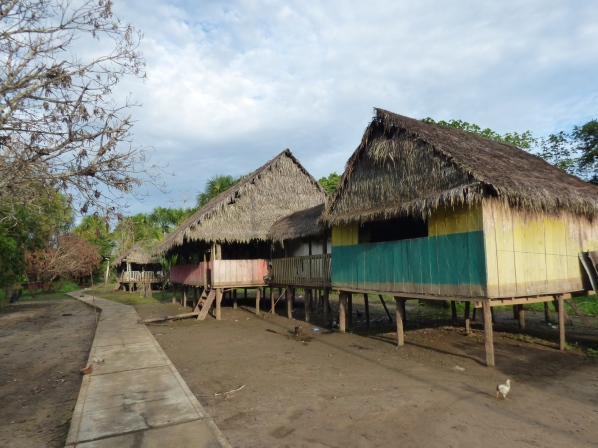 The village that our guide grew up in. During the rainy season, the water level rises three feet above the floors!