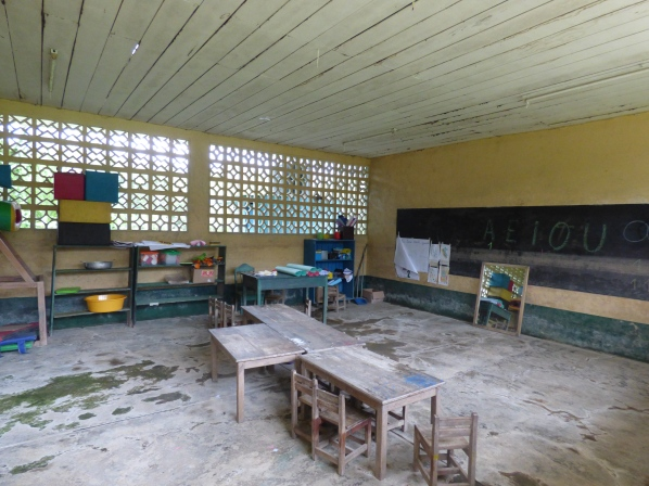 The schools for the village kids are closed often due to rain, flooding, or other reasons. When they do attend, there are three buildings for three age groups.