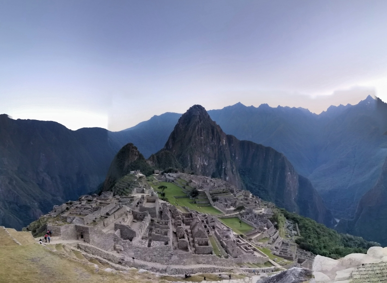 Machu Picchu in its entirety, right before sunrise. Still empty, peaceful, and beautiful.