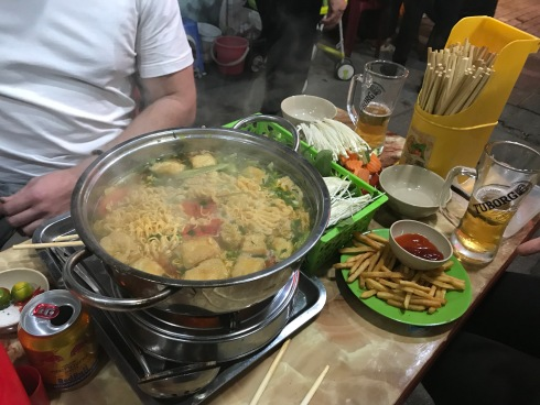 Hot Pot! Share with friends, it's a large serving of delicious meats and veggies, cooked in front of you!