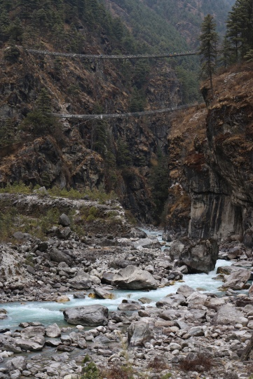 The highest bridge crossing, day 2 heading to Namche